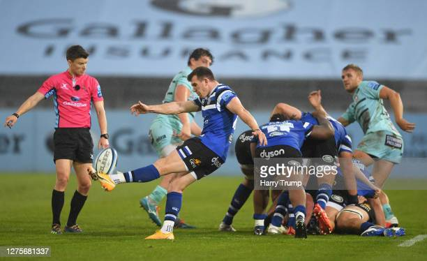 Ben Spencer of Bath Rugby looks to clear the ball during the Gallagher Premiership Rugby match between Bath Rugby and Gloucester Rugby at The...
