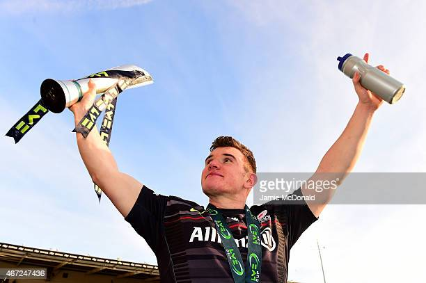 Ben Spencer of Saracens celebrates with the trophy following his team's 2320 victory during the LV= Cup Final match between Saracens and Exeter...