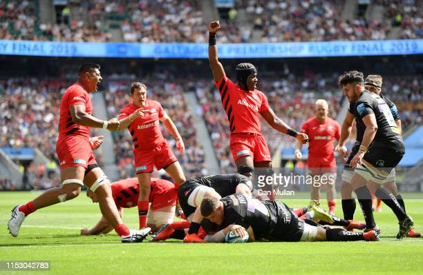 Ben Spencer of Saracens touches down for his side's second try during the Gallagher Premiership Rugby Final between Exeter Chiefs and Saracens at...