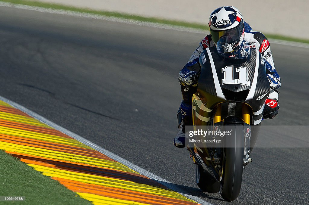 Ben Spies of USA and Monster Yamaha Tech 3 heads down a straight during the first test of 2011 season at Ricardo Tormo Circuit on November 9, 2010 in Valencia, Spain.