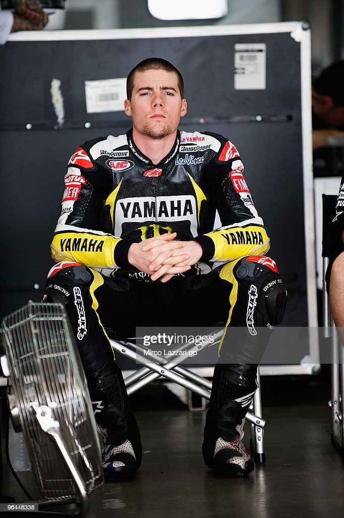 Ben Spies of USA and Monster Yamaha Tech 3 looks on in box during the final day of the MotoGP test at Sepang International Circuit, near Kuala Lumpur, Malaysia on February 5, 2010.