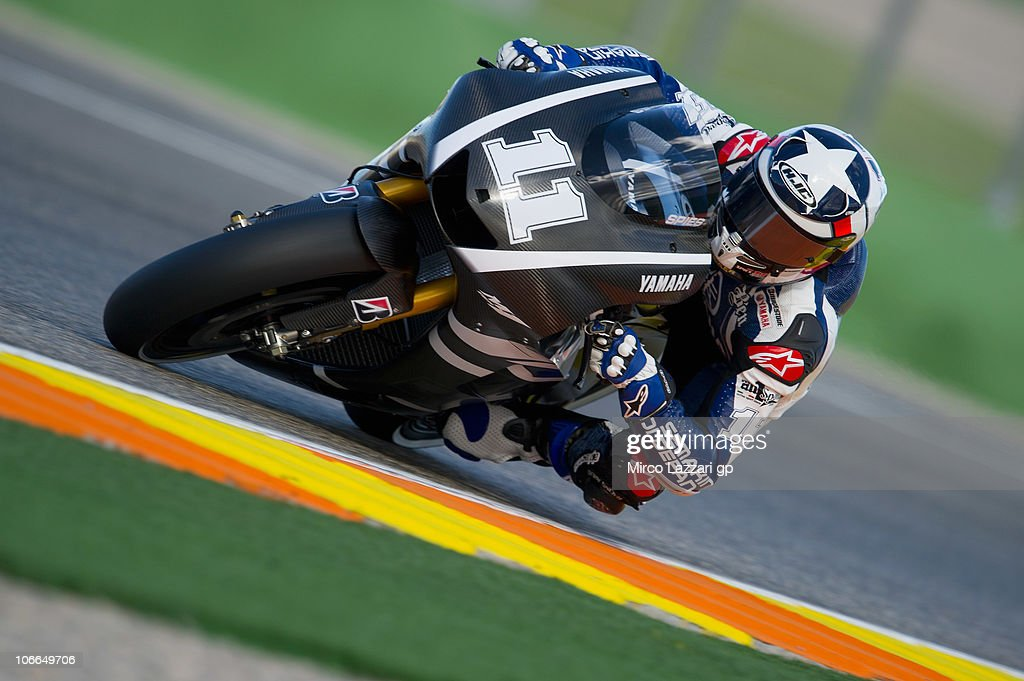Ben Spies of USA and Monster Yamaha Tech 3 rounds the bend during the first test of 2011 season at Ricardo Tormo Circuit on November 9, 2010 in Valencia, Spain.