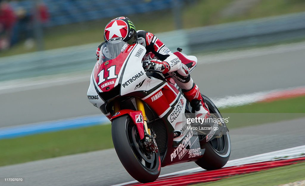 Ben Spies of USA and Yamaha Factory Team heads down a straight during the qualifying practice of MotoGP of Netherlands at TT Circuit Assen on June 24, 2011 in Assen, Netherlands.