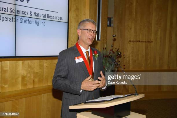 Ben Steffen Owner/Operator at Steffen Ag Inc at the University of NebraskaLincoln after accepting the 2017 Alumni Master Medallion on November 3 2017...