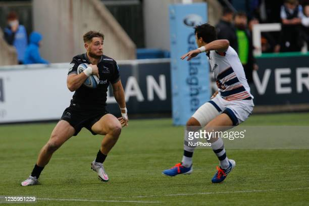 Ben Stevenson of Newcastle Falcons takes on the Bears defence during the Gallagher Premiership match between Newcastle Falcons and Bristol at...