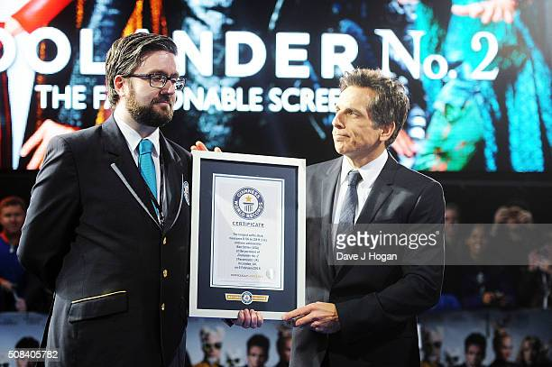 Ben Stiller accepts a certificate after a record breaking selfie during a Fashionable Screening of the Paramount Pictures film 'Zoolander No 2' at...