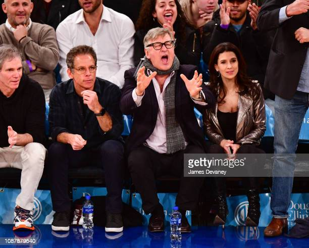 Ben Stiller Alec Baldwin and Hilaria Baldwin attend Houston Rockets v New York Knicks game at Madison Square Garden on January 23 2019 in New York...