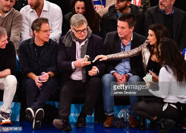 Ben Stiller Alec Baldwin Billy Baldwin and Hilaria Baldwin attend Houston Rockets v New York Knicks game at Madison Square Garden on January 23 2019...