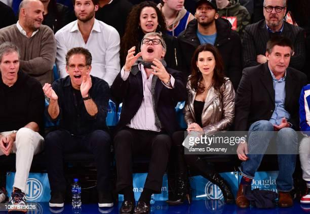 Ben Stiller Alec Baldwin Hilaria Baldwin and Billy Baldwin attend Houston Rockets v New York Knicks game at Madison Square Garden on January 23 2019...