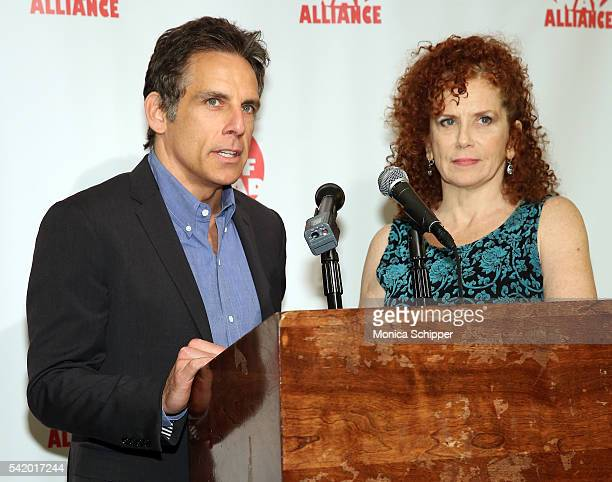 Ben Stiller and Amy Stiller accept a posthumous award on behalf of their mother, Anne Meara, at the 2016 Off Broadway Alliance Awards at Sardi's on...