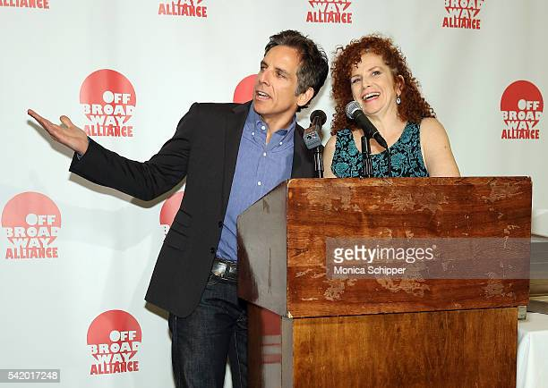 Ben Stiller and Amy Stiller accept a posthumous award on behalf of their mother Anne Meara at the 2016 Off Broadway Alliance Awards at Sardi's on...