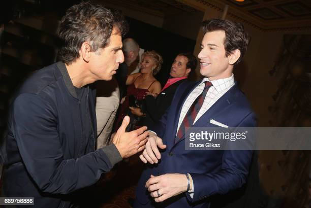 Ben Stiller and Andy Karl chat at the opening night after party for the musical based on the film Groundhog Day on Broadway at Gotham Hall on April...