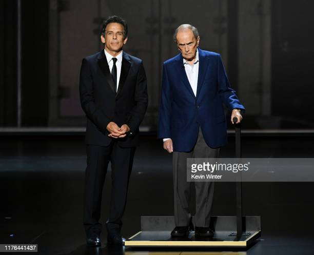 Ben Stiller and Bob Newhart speak onstage during the 71st Emmy Awards at Microsoft Theater on September 22, 2019 in Los Angeles, California.