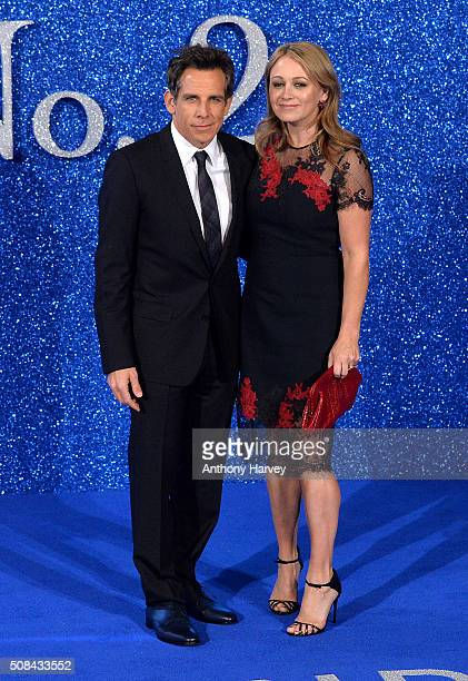 Ben Stiller and Christine Taylor attend a London Fan Screening of the Paramount Pictures film Zoolander No 2 at Empire Leicester Square on February 4...