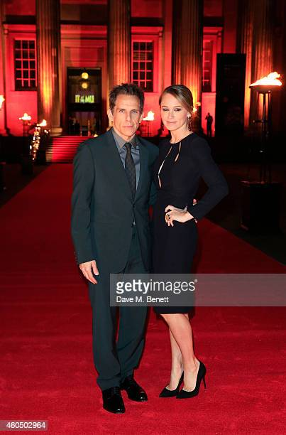 Ben Stiller and Christine Taylor attend a photocall celebrating the UK Premiere of 'Night At The Museum Secret Of The Tomb' at The British Museum on...