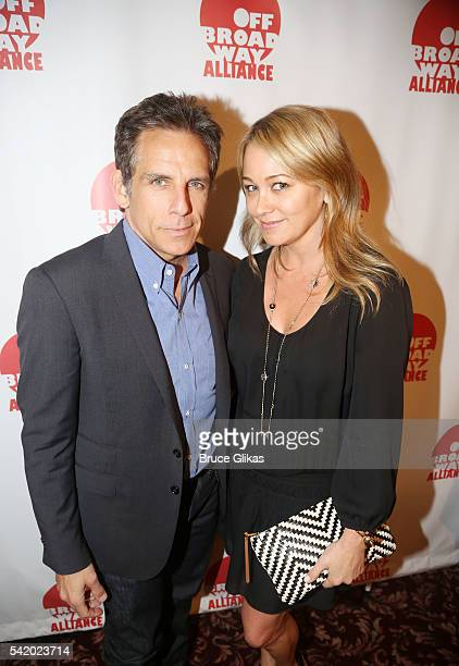 Ben Stiller and Christine Taylor attend the 2016 Off Broadway Alliance Awards where Stiller's mother Anne Meara was posthumously honored into the...