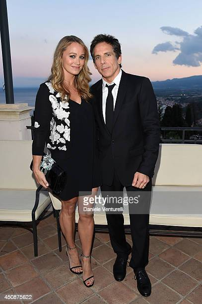 Ben Stiller and Christine Taylor attend the 60th Taormina Film Fest on June 19 2014 in Taormina Italy