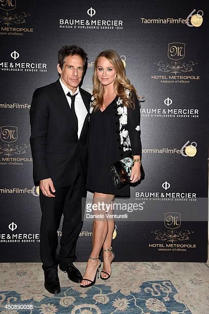 Ben Stiller and Christine Taylor attend the Baume Mercier Promesse Taormina Award dinner during the 60th Taormina Film Fest on June 19 2014 in...