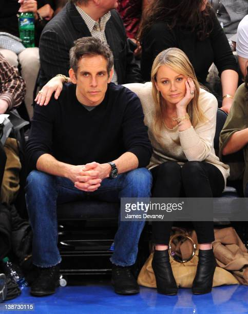 Ben Stiller and Christine Taylor attend the Los Angeles Lakers vs New York Knicks at Madison Square Garden on February 10, 2012 in New York City.