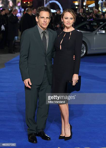 Ben Stiller and Christine Taylor attend the UK Premiere of 'Night At The Museum Secret Of The Tomb' at Empire Leicester Square on December 15 2014 in...