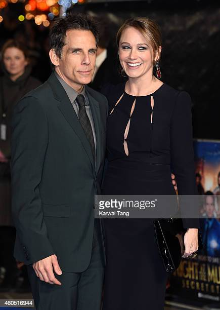 Ben Stiller and Christine Taylor attend the UK Premiere of Night At The Museum Secret Of The Tomb at Empire Leicester Square on December 15 2014 in...