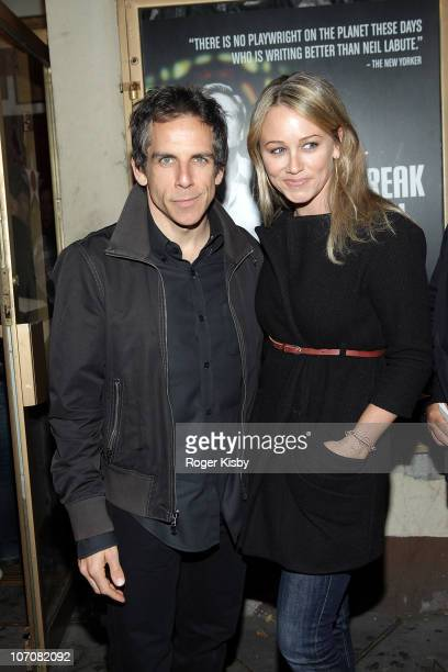 Ben Stiller and Christine Taylor attends the opening night of The Break of Noon at Lucille Lortel Theatre on November 22 2010 in New York City