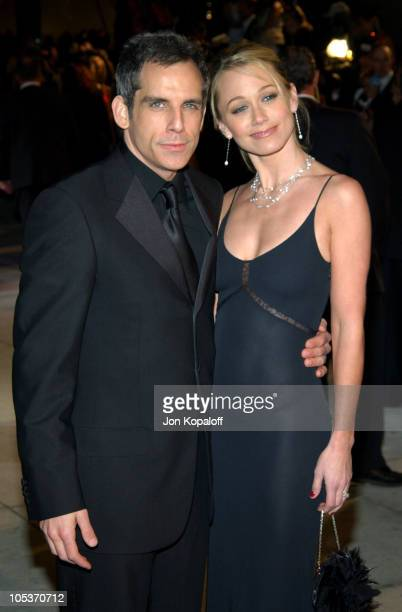 Ben Stiller and Christine Taylor during 2004 Vanity Fair Oscar Party at Mortons in Beverly Hills California United States