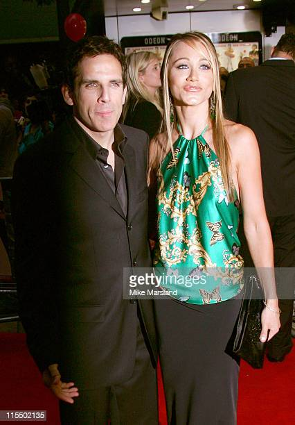 Ben Stiller and Christine Taylor during 'Dodgeball' London Premiere Arrivals at Odeon Kensington in London Great Britain