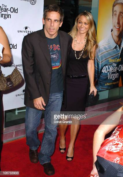 Ben Stiller and Christine Taylor during The 40YearOld Virgin Los Angeles Premiere Arrivals at ArcLight Theatre in Hollywood California United States