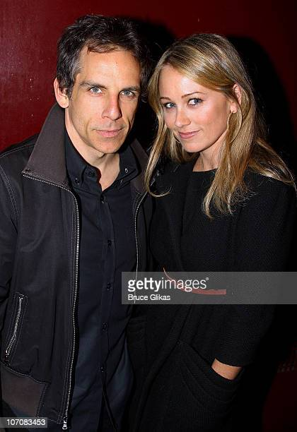 Ben Stiller and Christine Taylor pose at The Opening Night of The Break of Noon at Lucille Lortel Theatre on November 22 2010 in New York City
