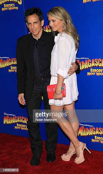 """Ben Stiller and Christine Taylor-Stiller attend the """"Madagascar 3: Europe's Most Wanted"""" premiere at the Ziegfeld Theatre on June 7, 2012 in New York..."""