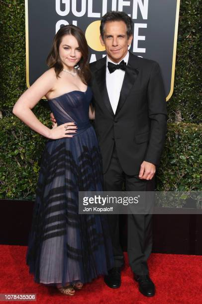 Ben Stiller and daughter Ella Stiller attend the 76th Annual Golden Globe Awards at The Beverly Hilton Hotel on January 6 2019 in Beverly Hills...