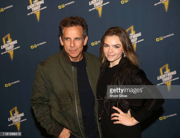 """Ben Stiller and daughter Ella Stiller pose at the opening night after party for the new musical based on the film """"The Lightning Thief: The Percy..."""