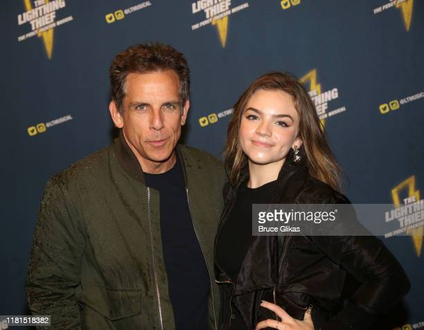 """Ben Stiller and daughter Ella Stiller pose at the opening night of the new musical based on the film """"The Lightning Thief"""" on Broadway at The..."""
