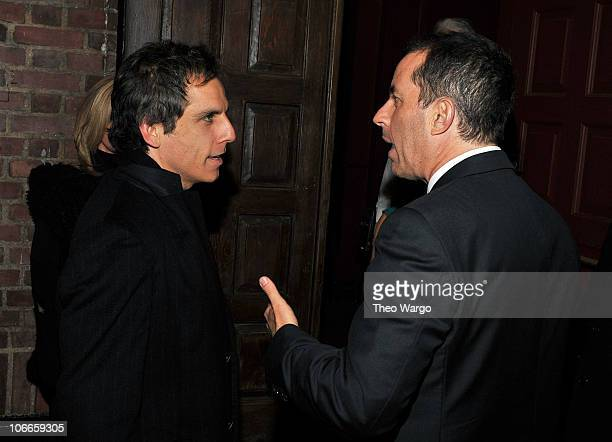 Ben Stiller and director Jerry Seinfeld talk at the Broadway opening of Colin Quinn Long Story Short at the Helen Hayes Theatre on November 9 2010 in...