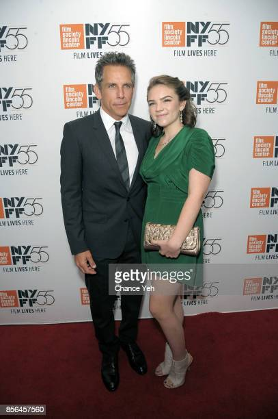 Ben Stiller and Ella Olivia attend 'Meyerowitz Stories' screening during the 55th New York Film Festival at Alice Tully Hall on October 1 2017 in New...