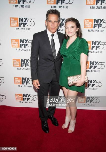 """Ben Stiller and Ella Olivia Stiller attend the 55th New York Film Festival - """"Meyerowitz Stories"""" at Alice Tully Hall on October 1, 2017 in New York..."""