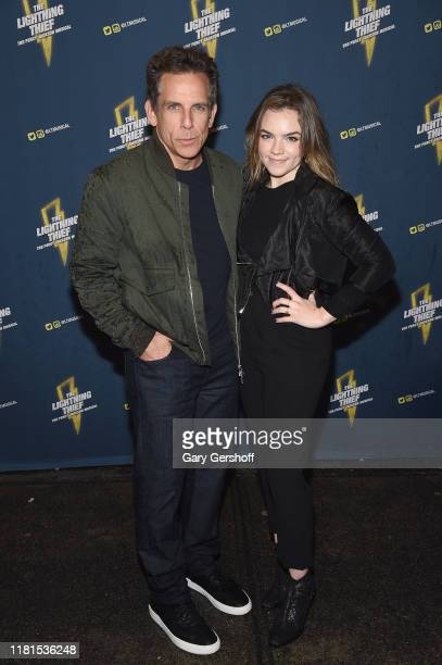 Ben Stiller and Ella Olivia Stiller attend The Lightning Thief opening night at the Longacre Theatre on October 16 2019 in New York City