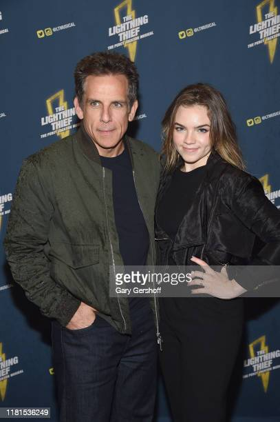 """Ben Stiller and Ella Olivia Stiller attend """"The Lightning Thief"""" opening night at the Longacre Theatre on October 16, 2019 in New York City."""