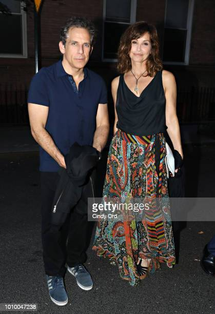 Ben Stiller and Gina Gershon attend the opening night of Mike Birbiglia The New One at the Cherry Lane Theatre on August 2 2018 in New York City