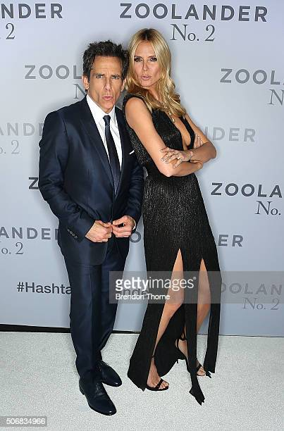 Ben Stiller and Heidi Klum attend the Sydney Fan Screening Event of the Paramount Pictures film 'Zoolander No 2' at the State Theatre on January 26...