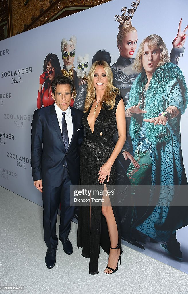 Ben Stiller and Heidi Klum attend the Sydney Fan Screening Event of the Paramount Pictures film 'Zoolander No. 2' at the State Theatre on January 26, 2016 in Sydney, Australia.