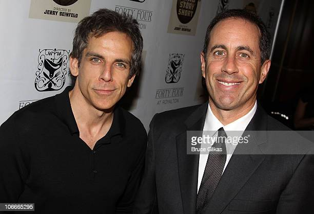 Ben Stiller and Jerry Seinfeld pose at the Opening Night After Party for Colin Quinn Long Story Short on Broadway at Forty Four at the Royalton on...