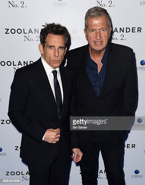 Ben Stiller and Mario Testino attend a London Fan Screening of the Paramount Pictures film Zoolander No 2 at the Empire Leicester Square on February...