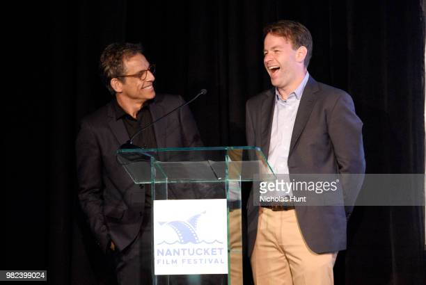 Ben Stiller and Mike Birbiglia speak onstage during the Screenwriters Tribute at the 2018 Nantucket Film Festival Day 4 on June 23 2018 in Nantucket...