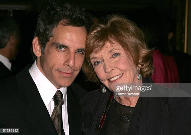 Ben Stiller and mother Anne Meara pose for a photo at the Yves Saint Laurent Grand classics Screening of 'Sweet Smell of Sucess' hosted by Ben...