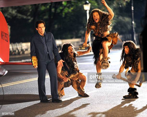 Ben Stiller and Neanderthal men during filming at the filming outside the Museum Of Natural History on Central Park West of Night At The Museum 2...