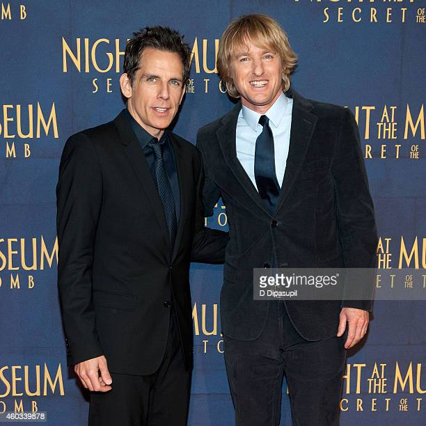 Ben Stiller and Owen Wilson attend the 'Night At The Museum Secret Of The Tomb' New York Premiere at the Ziegfeld Theater on December 11 2014 in New...