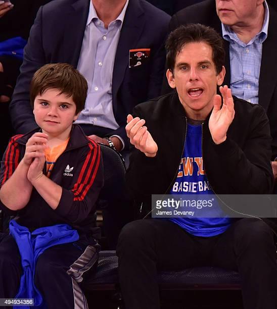 Ben Stiller and Quinlin Dempsey Stiller attend the Atlanta Hawks vs New York Knicks game at Madison Square Garden on October 29 2015 in New York City