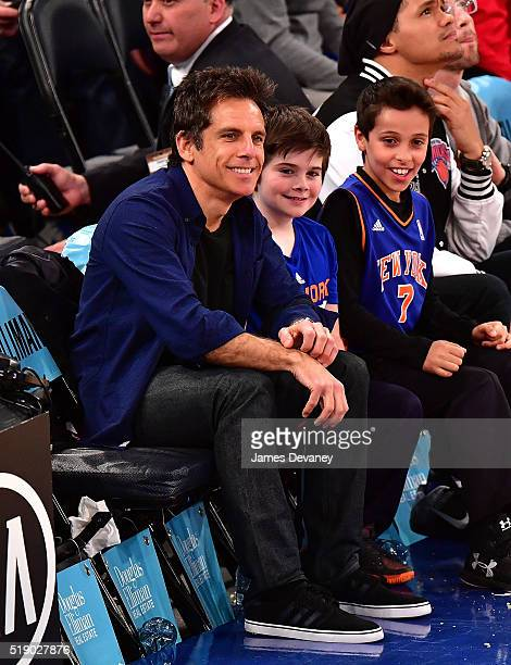 Ben Stiller and Quinlin Stiller attend the Indiana Pacers vs New York Knicks game at Madison Square Garden on April 3 2016 in New York City